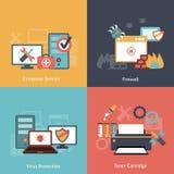 Composition plate en icônes de réparation d'ordinateur Photo stock