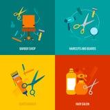 Composition plate en icônes de salon de coiffure illustration de vecteur