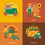 Composition plate en icônes de terre d'agriculteur illustration de vecteur