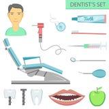 Composition plate en place de concept de soin de dents de couleur illustration stock