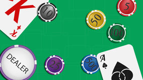 The composition of the playing cards and poker chips. Green baiz. Vector illustration. The composition of the playing cards and poker chips. Green baize gaming Royalty Free Stock Photo