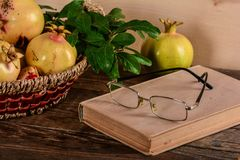 Composition of pomegranates and old book Royalty Free Stock Images
