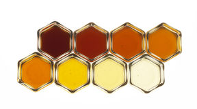 Composition with pots of honey Royalty Free Stock Photo