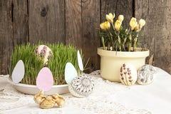 Composition pour la carte de voeux : Oeufs de pâques, crocus jaune, herbe Images stock