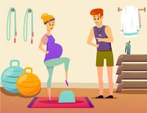 Pregnant Woman Sport Instructor Composition. Composition with pregnant woman during exercise on step platform with personal sport instructor in gym vector Stock Images
