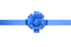 Composition for present or gift with blue ribbon bow Royalty Free Stock Photo
