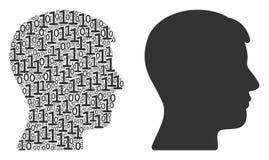 Composition principale de profil d'homme des éléments binaires Image stock