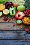 Composition of products containing ascorbic acid, vitamin C - citrus, cauliflower, broccoli, sweet pepper, kiwi, dog rose, tomatoe Stock Image