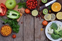 Composition of products containing ascorbic acid, vitamin C - citrus, cauliflower, broccoli, sweet pepper, kiwi, dog rose, tomatoe Royalty Free Stock Image