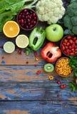 Composition of products containing ascorbic acid, vitamin C - citrus, cauliflower, broccoli, sweet pepper, kiwi, dog rose, tomatoe Stock Images