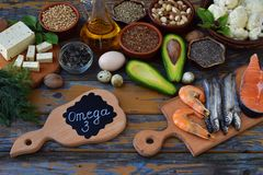 Composition of products containing unsaturated fatty acids Omega 3 - fish, nuts, tofu, avocado, egg, soybean, flax, pumpkin seeds, Stock Image