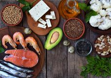 Composition of products containing unsaturated fatty acids Omega 3 - fish, nuts, tofu, avocado, eggs, soybeans, flax, pumpkin seed. S, cauliflower, dill Stock Images