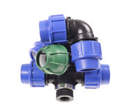 Composition pvc plumbing fittings Stock Photography