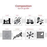 Composition quick guide illustration. Quick guide to composition illustration. Simple elements explanation of basic principles in art. Pairs of images showing stock illustration