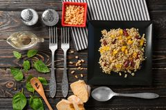 Composition with quinoa salad, cutlery and products Stock Images