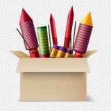 Composition réaliste en boîte de pyrotechnie illustration libre de droits