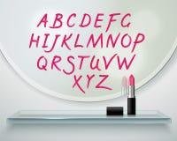 Composition réaliste en miroir d'étagère d'Alfabet de rouge à lèvres Images libres de droits