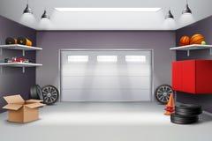 Composition réaliste intérieure en garage illustration de vecteur