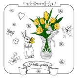 Composition with rabbit, yellow tulip flowers and doodle elements. Hand drawn sketch of monocrome and color objects. vector illustration