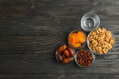 Composition with Ramadan Kareem food on wooden table royalty free stock photography
