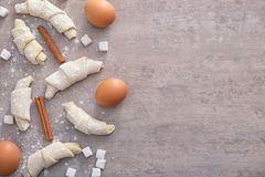 Composition with raw croissants Royalty Free Stock Images