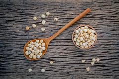 Composition of raw lotus seeds .The asian popular seed for food stock image