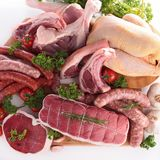 Composition with raw meats Stock Images