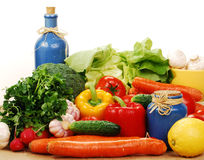 Composition with raw vegetables. Freshly washed vegetables with visible drops of water Stock Image