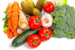 Composition of fresh vegetables. Composition of raw vegetables isolated on white Royalty Free Stock Image