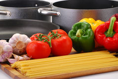 Composition with raw vegetables and spaghetti Royalty Free Stock Image