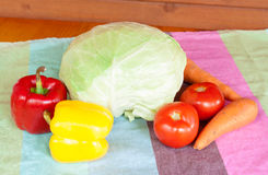 Composition with raw vegetables on table Royalty Free Stock Photos