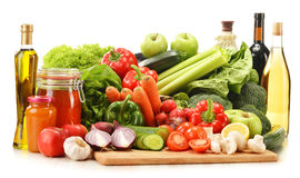Composition with raw vegetables  on white. Background Royalty Free Stock Images