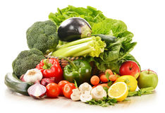 Composition with raw vegetables on white. Background Royalty Free Stock Image
