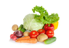Composition with raw vegetables on white. Composition with raw vegetables  on white Royalty Free Stock Photo