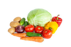 Composition with raw vegetables on white Stock Photos
