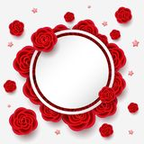 Composition with realistic flowers and round frame. Composition with realistic flowers. 3d effect, red roses and stars with white round frame with place for your Royalty Free Stock Images