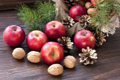 Composition with red apples Stock Photography
