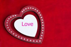 Composition on a red background for the holiday Valentine`s Day royalty free stock photography