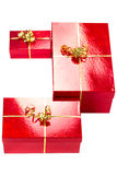 Composition of red gift boxes Royalty Free Stock Image