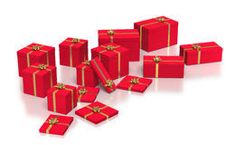 Composition of red gift boxes on white background Stock Photos