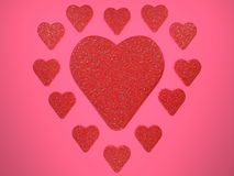 Composition of red glitter hearts on pink background. Digital illustration. 3d render. Graphic composition with hearts on pink background Royalty Free Stock Photos