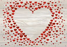 The composition of red hearts. Valentine`s Day. Greeting card. V. Ector illustration on wodden background Royalty Free Stock Images
