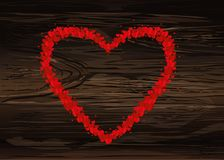 The composition of red hearts. Valentine`s Day. Greeting card. V. Ector illustration on wooden background Stock Photography