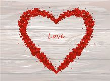 The composition of red hearts. Valentine`s Day. Greeting card. V. Ector illustration on wooden background Royalty Free Stock Image