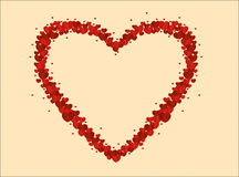 The composition of red hearts. Valentine`s Day. Greeting card. Vector illustration Royalty Free Stock Images