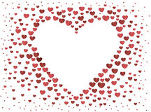 The composition of red hearts. Valentine`s Day. Greeting card. Vector illustration. White background Royalty Free Stock Photography