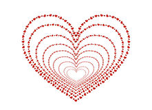 The composition of red hearts. Valentine`s Day. Greeting card. Vector illustration. White background Stock Image