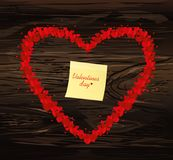 The composition of red hearts. Valentine`s Day. Yellow sheet of. Paper for notes. Sticker. Greeting card. Vector illustration on wooden background Stock Photography