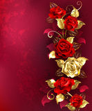 Composition with red jewelry roses Stock Image