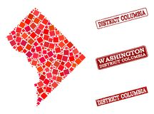 Mosaic Map of District Columbia and Distress School Stamp Collage vector illustration